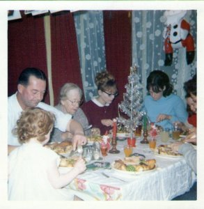 Christmas 1965 (66?), Woolwich, me, dad, Nana Coomes, 3/5 sisters, 1/1 brother. Yes, Mum probably is taking the photo ...